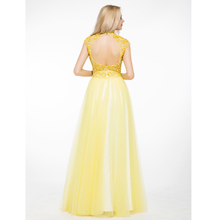 Yellow High Neck China Free Pattern Evening Dresses For Veiled