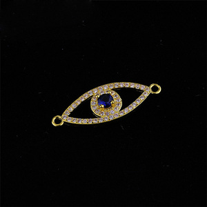 Jewelry DIY Accessory Making Crystal Rhinestone Necklace Pendants Cubic Zircon CZ Micro Pave Evil Eye Charm Connectors
