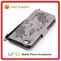 [UPO] 2016 New Embossment Effect Pattern Leather Case for iPhone se Wallet Stand Case Phone Cover
