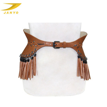 custom made size wide belt elegant ladies brown tassel studded belt