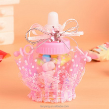 Pink Blue Plastic Bottle Container Baby Shower Party Fvor Box Baby Feeding Bottles with Ribbin and Organza Decorations