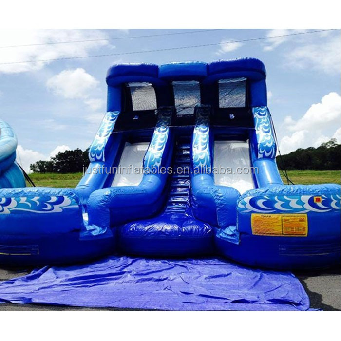 Inflatable Water Slide China: New Inflatable Double Splash Water Slide With Pool
