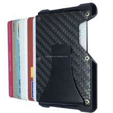 Durable Credit Card Holder Portable Carbon Wallet Slide ID Cards Out Minimalist RFID Blocking