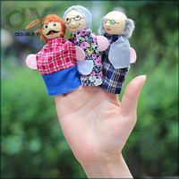Hot sale 6pcs dancing wooden plush costume hand finger puppet