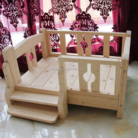 Excellent quality new products solid wooden raised dog bed dog house wooden timber log cabin