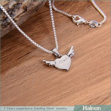 wholesale love silver pendant with wing angel 2015 factory wholesale