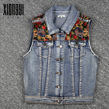 Wholesale fashion style sleeveless jean denim jacket vest for girls