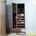 Jewelry Organized Cabinet Mirror Floor Standing Bedroom Ornament ,Brown