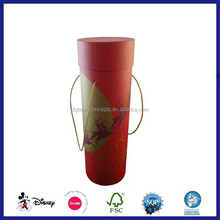 Portable handle hotsale paper wine cylinder box