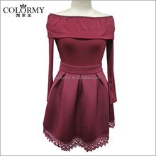 2017 new design red dresses long sleeves elegant casual dress for women