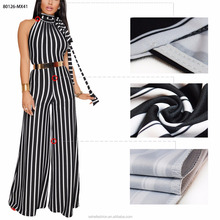 80126-MX41 Hot sell sleeveless 4colors strip printed casual lovely bandage halter neck women dresses