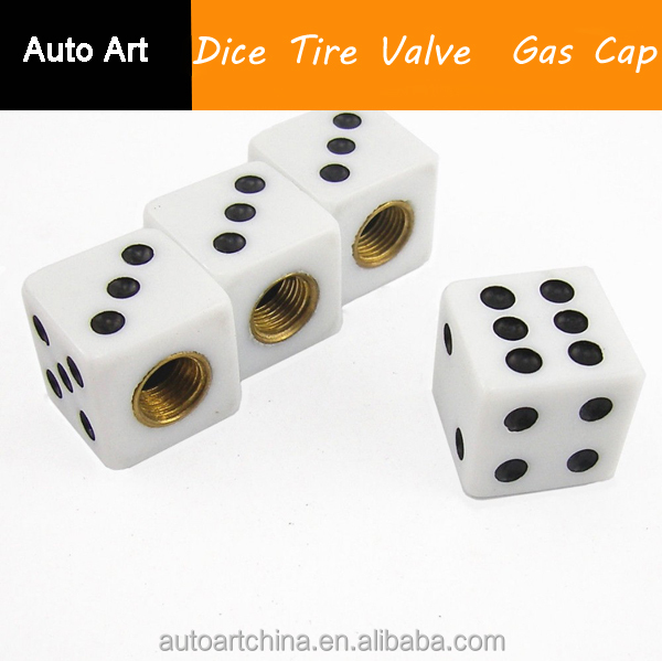 Universal Auto Accessories Car Styling Solid White Dice Tire Valve Gas Cap