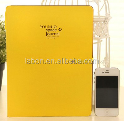 Lemon Color PU leather cover Notebook with Specialized Penholder