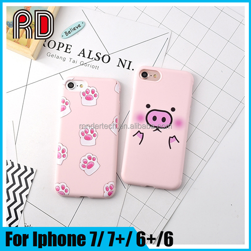 Wholesale Mobile Accessories Cute Pig Pink silicone Phone case for iphone 7 7 plus piggy case