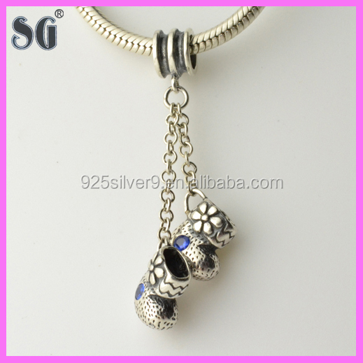 custom made jewelry 925 sterling silver boots shaped charms wholesale for European charm bracelet