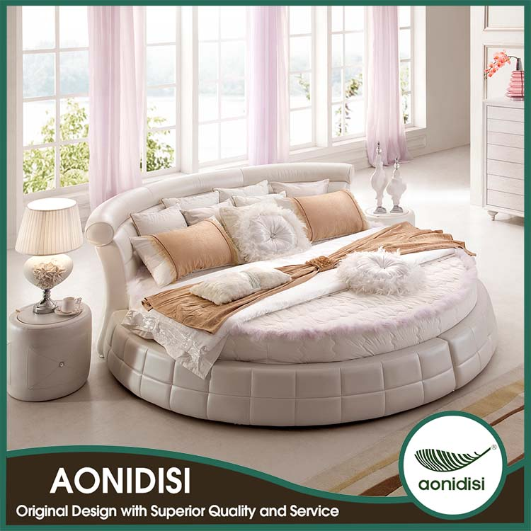 Round white leather bed frame 1156