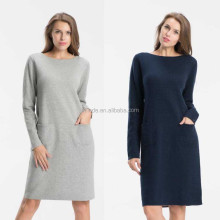 Navy Blue Worsted Double Knit Dress for Winter Women Warm Soft Long Sleeve Dresses Plain Cotton Wholesale