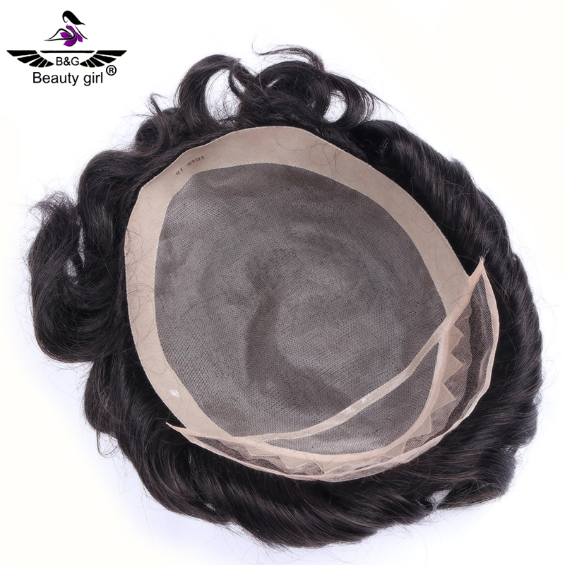 Private label mens hair products silk hair toupee for men
