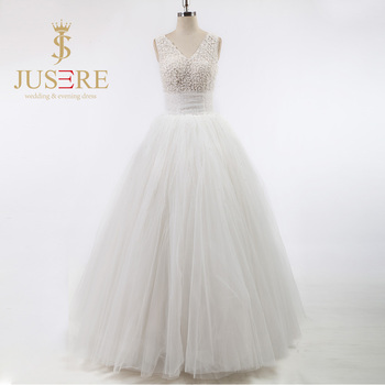 Newest V Neck Low U Back Handmade Pearls Beaded Ball Gowns Sheer Tulle Ivory Long Wedding Dresses 2016