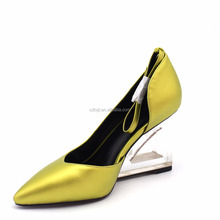 Chengdu special design custom logo shoes transparent hollow out heel lady shoes