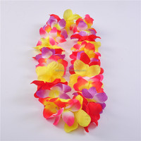 High Quality Hawaii Flower Necklace Lei Artificial Hawaiian lei Printed kukui nuts kukui nut lei