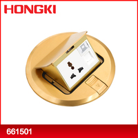 Normal/soft round brass pop up electrical floor power socket box with EU, UNIVERSAL, AUSTRALIAN, UK, SOUTH AFRICA type sockets