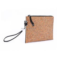 Alibaba wholesale cork wrist bag,custom printed lightweight cork bag,multifunction cork briefcase with zipper pocket