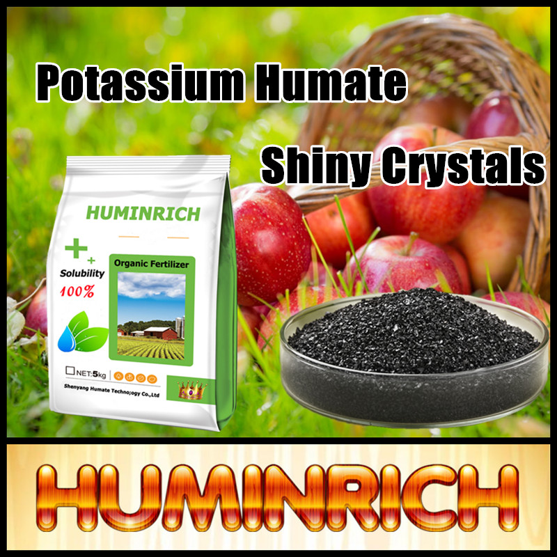 Huminrich Shenyang Black Shiny Crystal Potassium Humate Organic Fertilizer Silicon