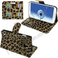 Wallet Function Leopard Pattern Flip Stand Leather Case for Samsung Galaxy S4 i9500 i9505 with Card Slots