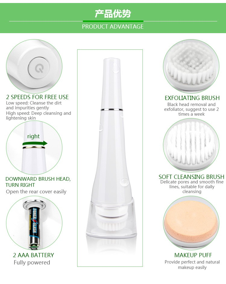 2016 alibaba facial cleaning brush product and facial cleaning exfoliate brush beauty machine