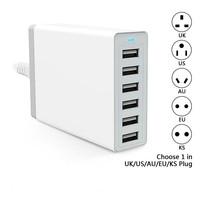 Phone accessory 6 port USB charger smart multi-port USB travel adapter, intelligent 6 port usb charger