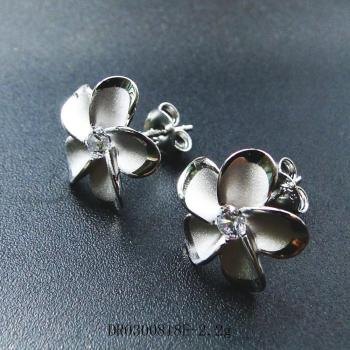 8MM Solid 14K White Gold Hawaiian Fancy Plumeria Flower Stud Post Earrings