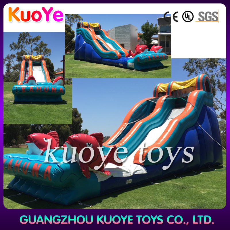 0.55mm plato pvc big inflatable kahuna water slide