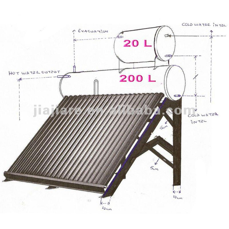 Home Use Solar Energy Water Heater Drawing