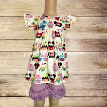 wholesale baby girl pictures of latest gowns designs cup cake pattern tunic dress match shorts kids clothes