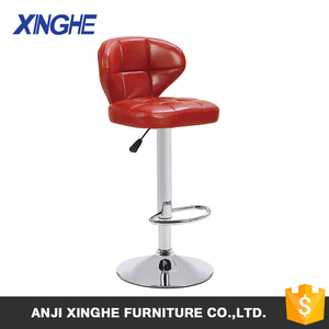 2018 Dull-red pu height adjustable metal bar stool chair