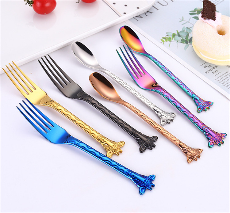High quality 304 food grade cartoon fork spoon tea spoon coffee