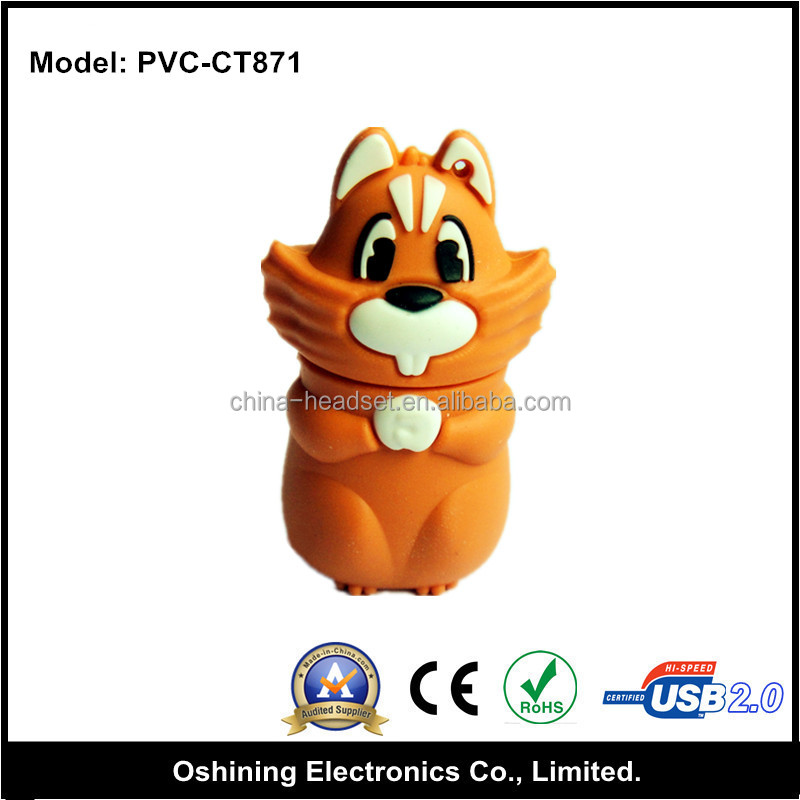 Cartoon PVC USB Flash Drive mini fox shaped USB Flash Pen Drive