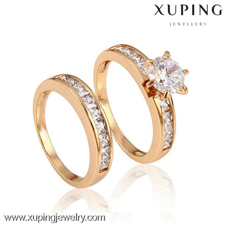 12888-Xuping gold diamond wedding engagement new design finger ring for women, elegant fashion double gold ring jewelry