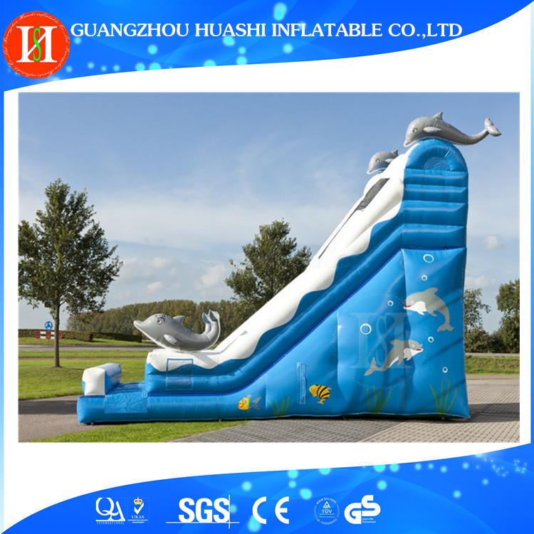 Dolphin inflatable slide and slip , inflatable slider , high quality bouncy water slide cheap for sale