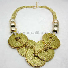 Golden glittering round pendent fashion necklace 2015