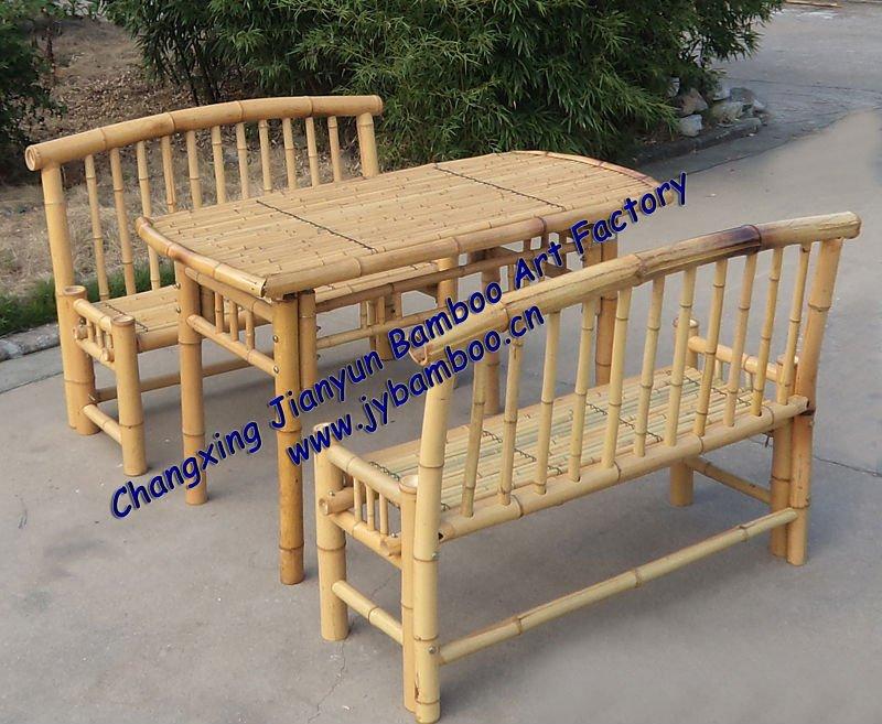 Mesa y sillas de bamb sillas de jard n identificaci n - Sillas de bambu ...