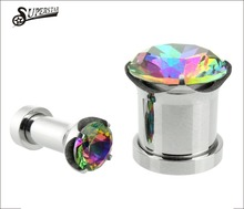 Latest design stainless steel body piercing jewelry light blue edge ear plug tunnels