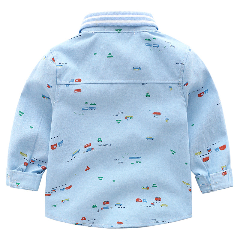 Boy Child Printing Cartoon Car Long Sleeve Mens Kurta Cowboy Plaid Band Shirt Pattern From China Supplier