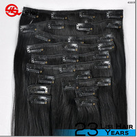 2015 factory price hot sale!!! wholesale double weft full head full cuticle full set 7 piece clip in hair extensions