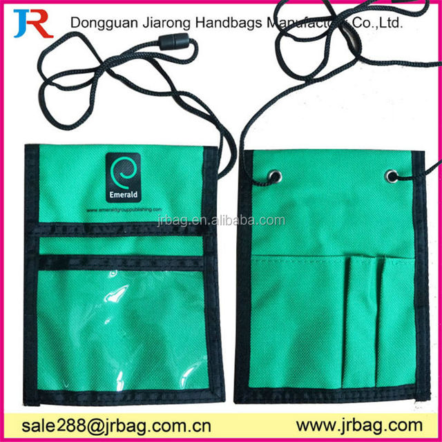 Green polyester Trade Show Neck Wallet with 2 pen holders and business card holder
