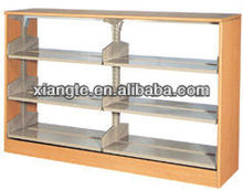 Popular item! heavy duty wood and metal bookshelf for childrens library/wooden steel book shelf