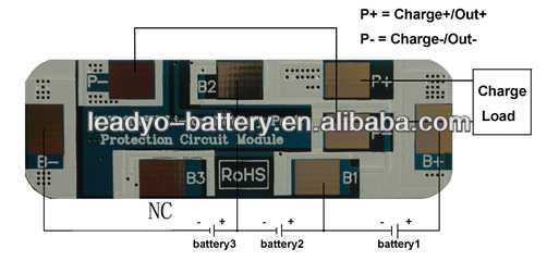 BMS/PCM for 11.1V/14.8V battery,3S lifepo4 BMS