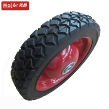 7 inch semi -pneumatic tire hard rubber wheel for trolley ,garden tools