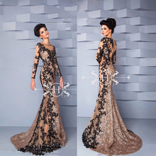 EVD 0437B Elegant Beaded Shiny Sequins Arabic Lace Appliques Evening Dresses Long Sleeve Evening Gown